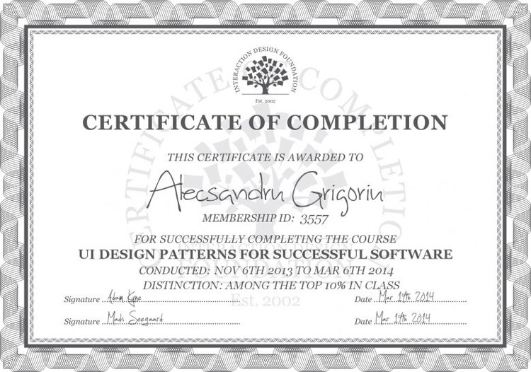 Interaction Design Foundation Pixels dots and points of view – Course Completion Certificate Format