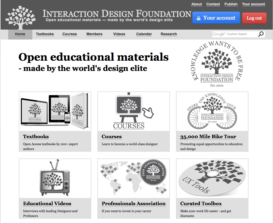 Interaction Design Foundation Homepage