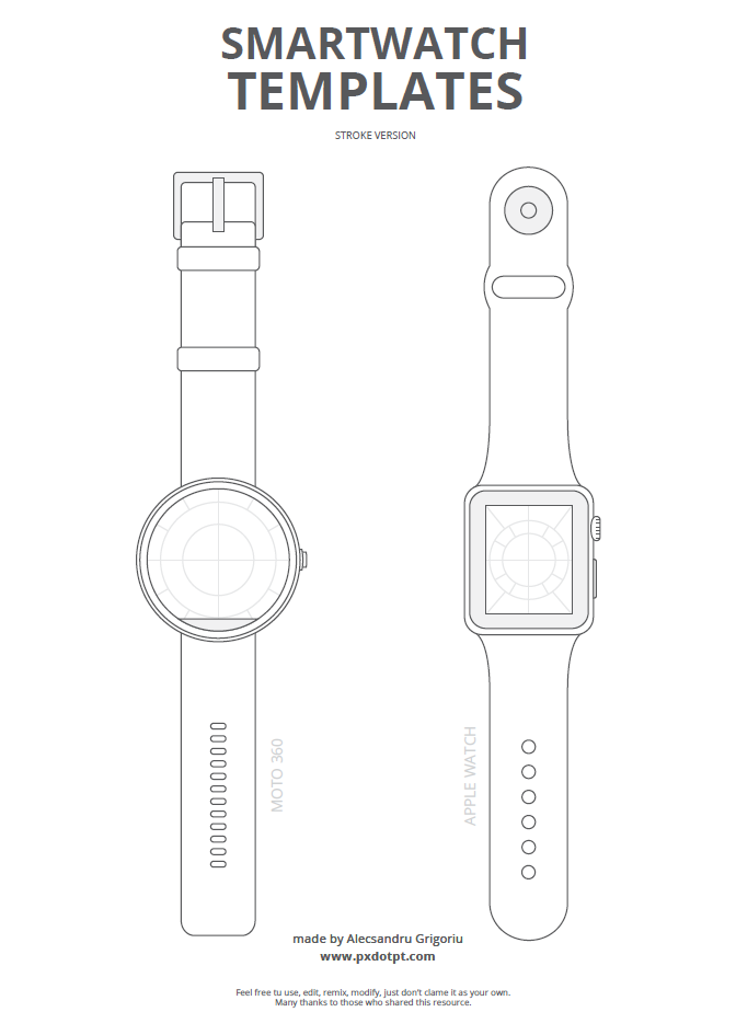 Drawing Lines On Your Wrist : Freebie smartwatch templates — pixels dots and points