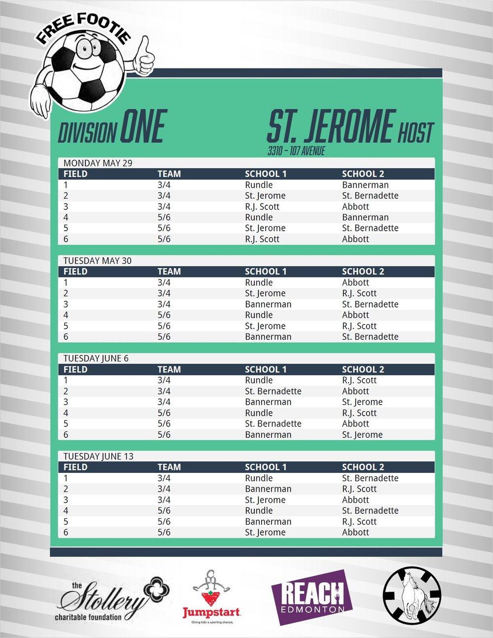 Division 1 Schedule