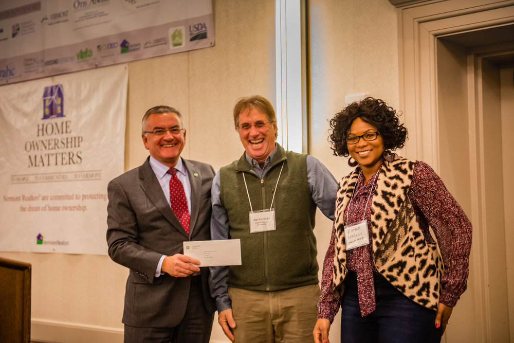 Philip Daniels, TD Bank President, VT/Upstate NY; Jim Lovinsky, Executive Director, Lamoille Housing Partnership; Ester Nkuli, Public Relations & Fundraising, Lamoille Housing Partnership.  Photo courtesy of Ted Wimpey