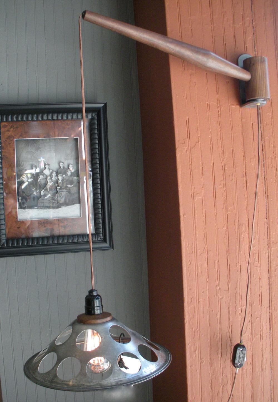 Wall Mounted Walnut+Steel Pendant