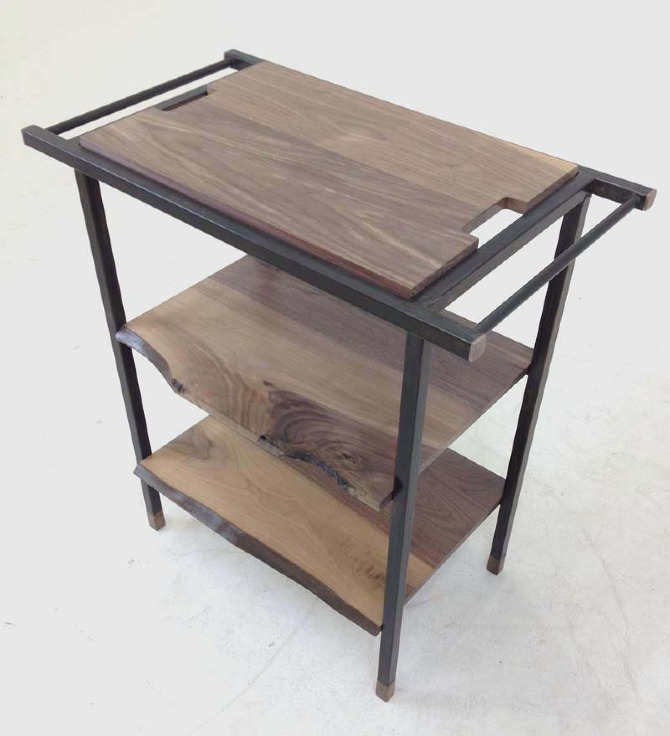 steel and walnut serving cart