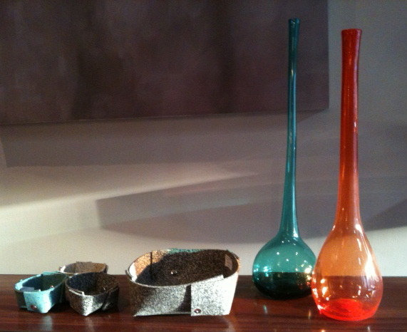 Glass Vases with Rubber Bowls