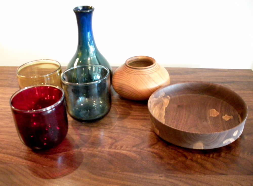 Assorted Glass and Turned Wood Bowls