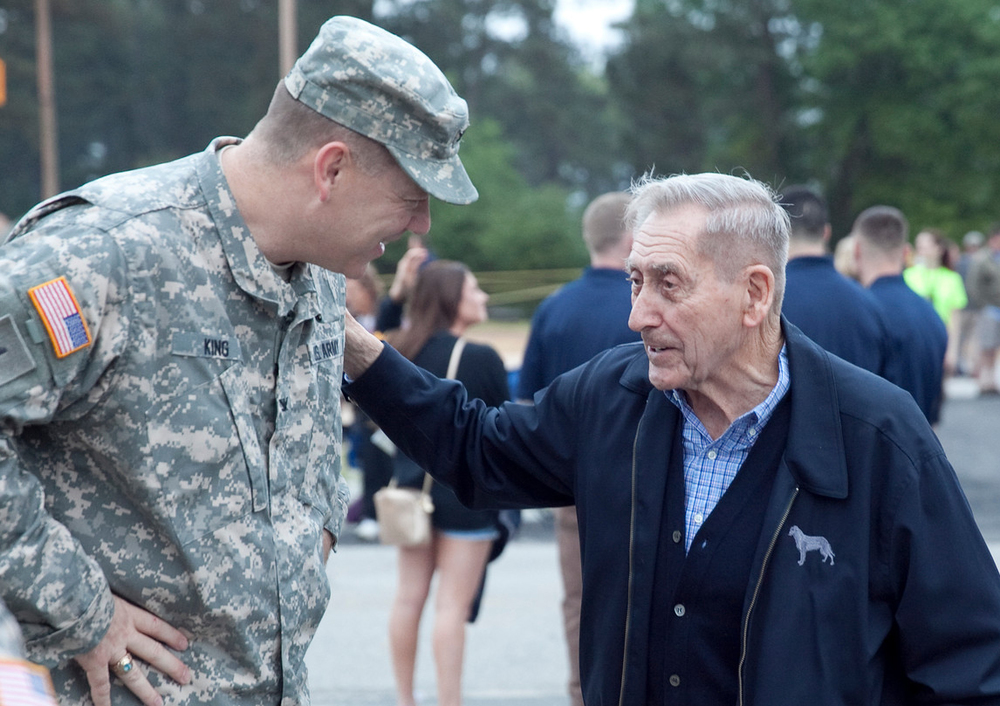 General Grange talks with COL King during the 2015 Best Ranger Competition