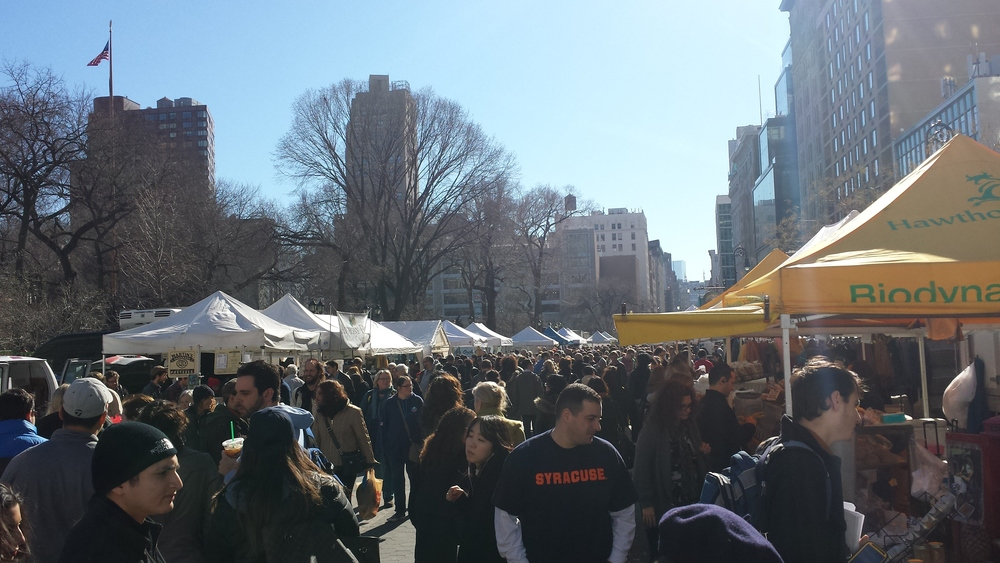 The weekly Farmers' Market at Union Square Park.