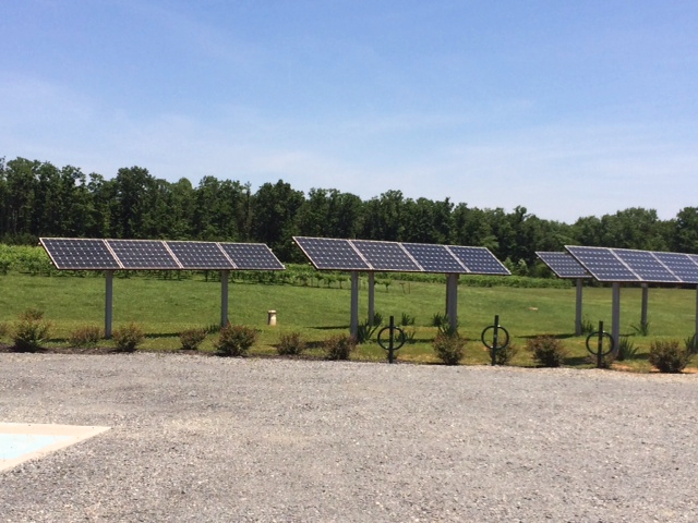 Some of the solar panels used to power the vineyard