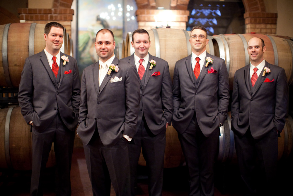 The groom and groomsmen looking dapper