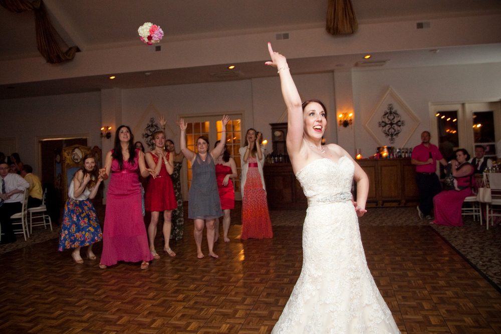 Girls just want to have fun bouquet toss