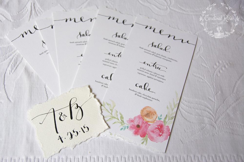 floral menu card