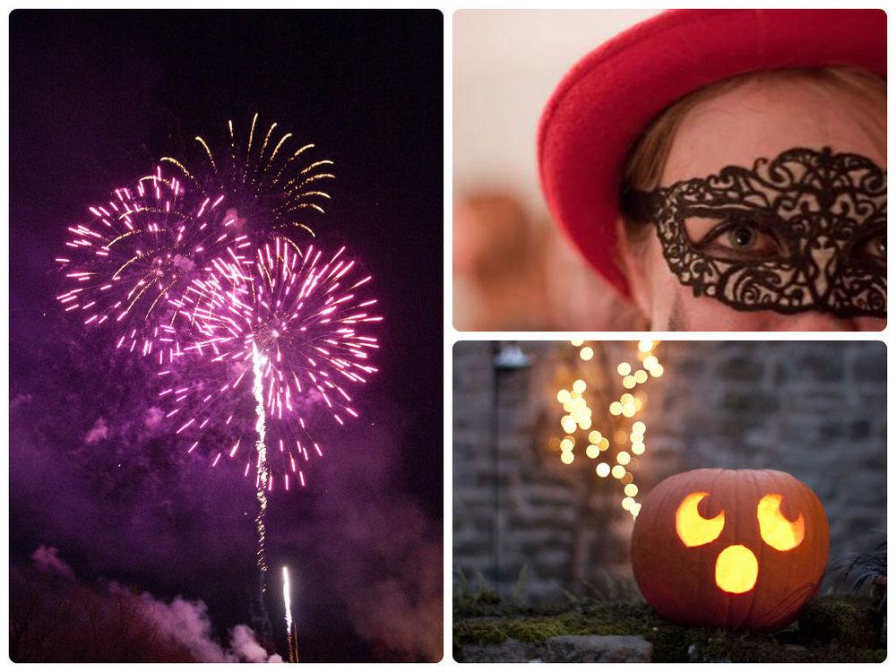 Cross Lanes Fireworks, Halloween mask and Beverley's pumpkin!