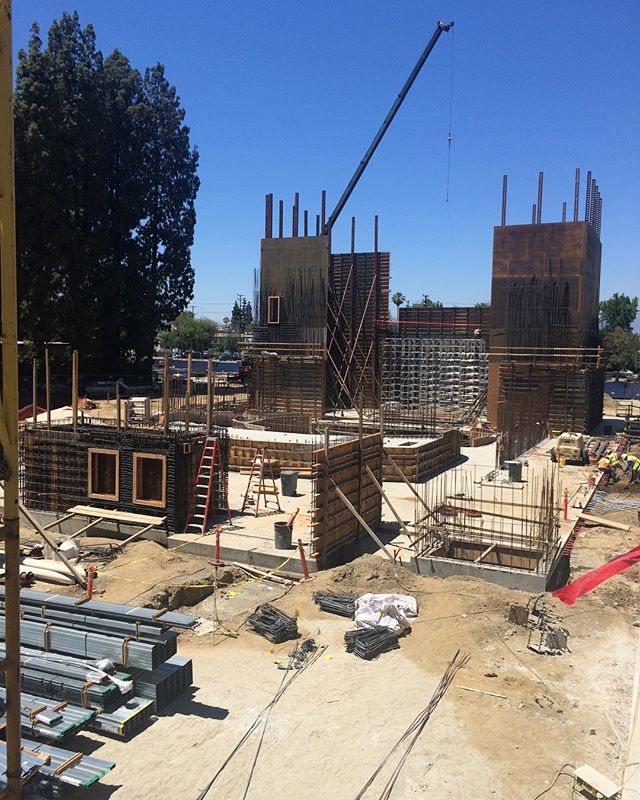 "Here are a couple of amazing photos of the @lavalleycollege VACC #building's Main #Theater from today. The two sets of #formwork flanking the stage stand at 48'-0"" tall! #architecture #design #construction #underconstruction #constructionupdate #rebar #qdgarchitecture #lavc #lavalleycollege"