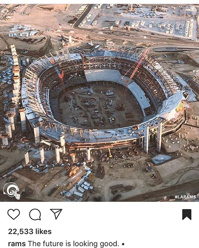 @rams Instagram post from yesterday showing an #aerial view of the progress on the #stadium. Link in bio, or copy: https://www.instagram.com/p/Blopt4egblb/?utm_source=ig_share_sheet&igshid=if4a5t2x5t0q #nfl #rams #LArams #LAchargers #stadiums #architects #architecture #design #construction #constructionupdate  #qdgarchitecture