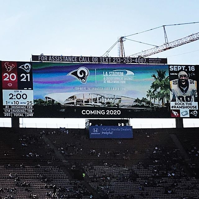 Footage of the @rams visit to the new stadium #underconstruction was shown on the @lacoliseum #videoboard at today's preseason game vs. the Texans. We are proud to be part of the @hksarchitects team working on the project. #nfl #rams #LArams #stadiums #inglewood #architects #architecture #design #construction #qdgarchitecture