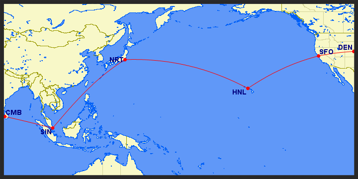 A Long Journey -  this was actually our flight path home, but illustrates nicely our 23+ hours of flight time to get half way around the world. Wow!