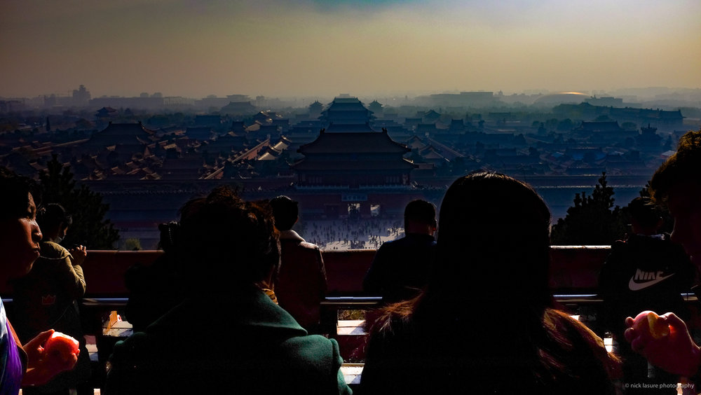 The Forbidden City theatre with a bit of smog from Jingshan Park | Fuji X100T