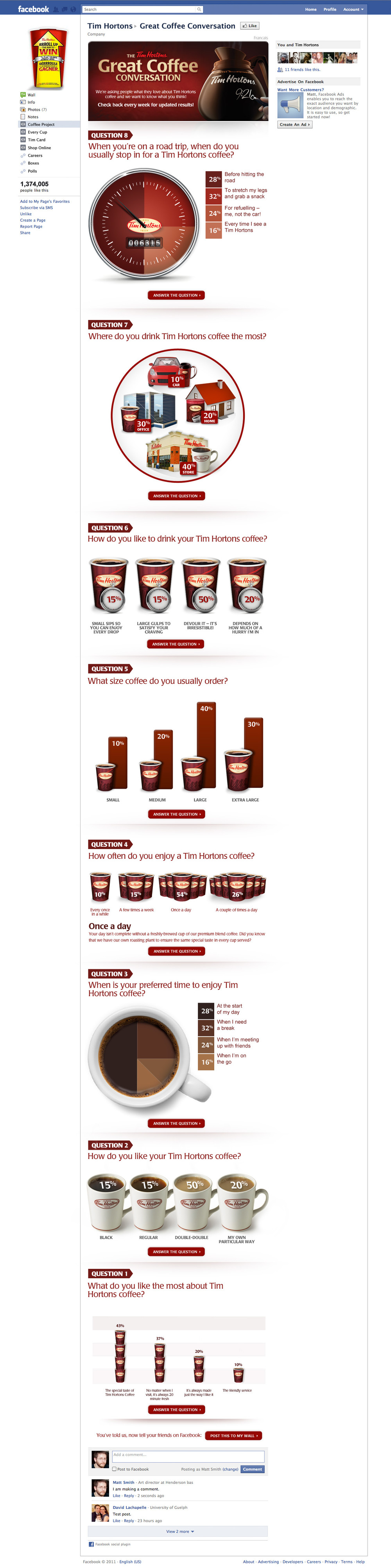 ---   Client: Tim Hortons Project: The Great Coffee Conversation Facebook Infographic   Agency: Henderson Bas   Role: Creative Direction, Art Direction, Partial Design