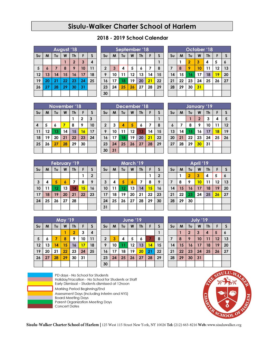 SWCSH 2018-19 School Calendar