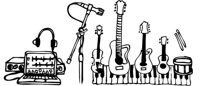 Aled Roberts Composer Instruments Cartoon