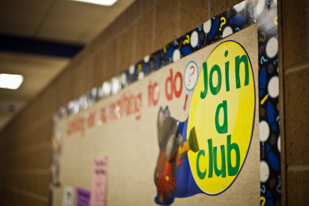 One of the many school bulletin boards devoted to clubs. Photo by Kara Wilkinson