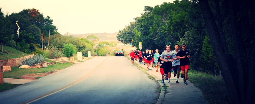 Mustangs run cross country during the early morning hours on Tuesday, September 16th. Photo by Jenny Xu