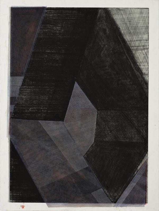 S/ Título | 2015 | Tinta da china e verniz sobre gravura | 150 x 110 cm