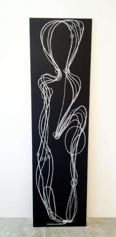 Sobre a distância entre as mãos e os olhos| 2013 | giz pastel sobre mdf | 182 x 50 x 1,5 cm