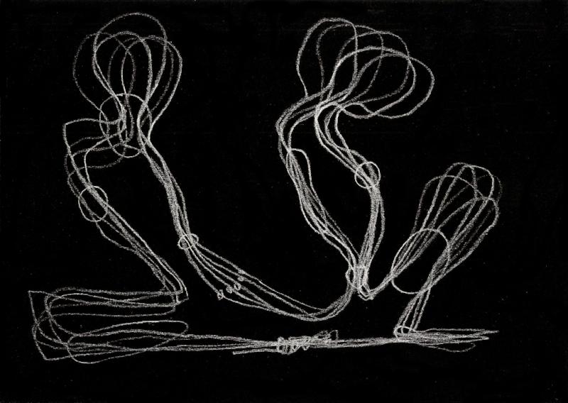 Luvas e redes | 2014 | Desenho | caneta rollerball de tinta gel branca | 21 x 29,7 cm