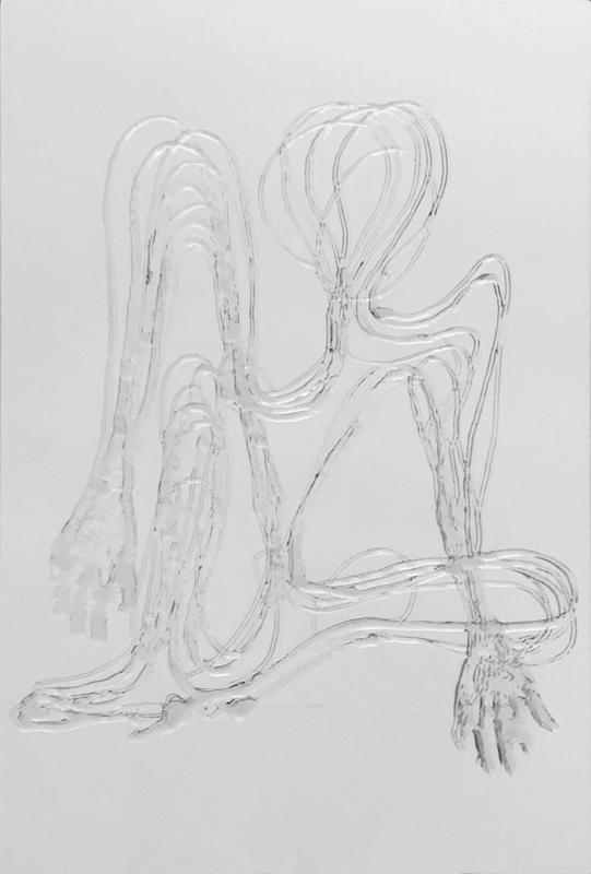 Distância Recoberta_corte V sobre espelho | 2013 | Desenho | verniz acrílico sobre acrílico espelhado | 45 x 30 x 0,3 cm