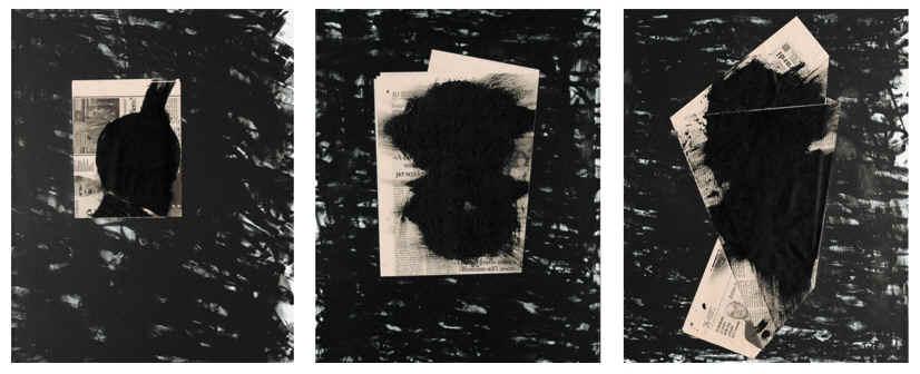 JANNIS KOUNELLIS Sem título | tríptico | set com 3 litografias em papel rag e colagem com jornais dobrados | 50 x 40 cm cada | Edição 60 | 1998