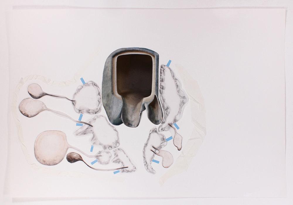 Mariana Manhães | Toda palavra tem uma gruta dentro de si #4 | 2017 | Técnica mista | 66 x 96 cm