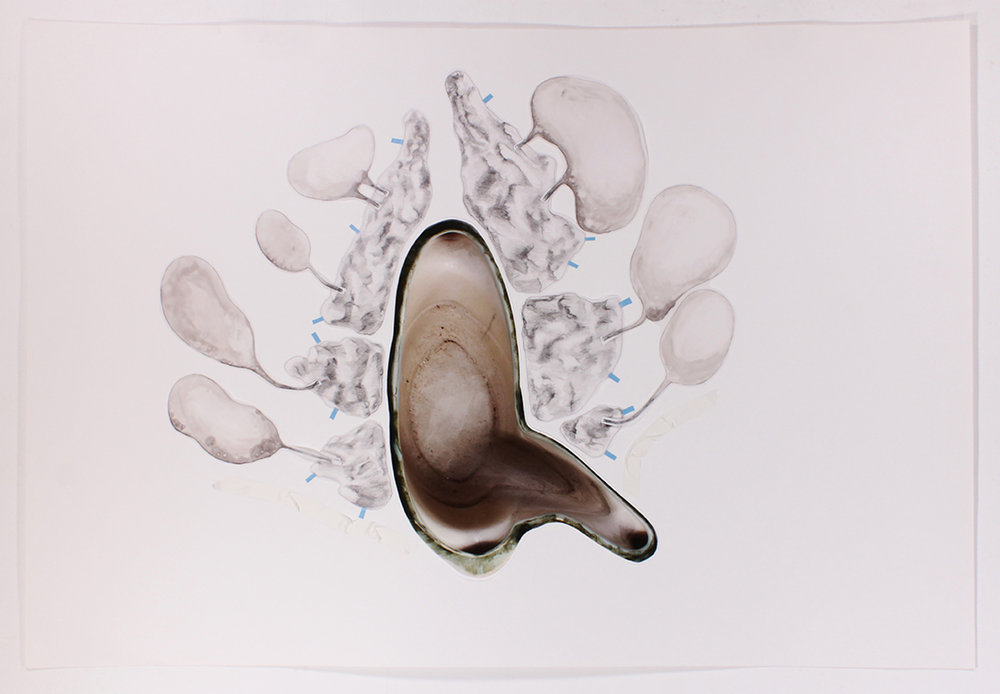 Mariana Manhães | Toda palavra tem uma gruta dentro de si #6 | 2017 | Técnica mista | 66 x 96 cm