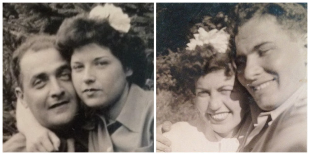 [LEFT] Grandma Lillian with Grandpa Manny (aka G & G), [RIGHT] Grandma Norma with Grandpa Bernie (aka Grandma Podge & Pop)