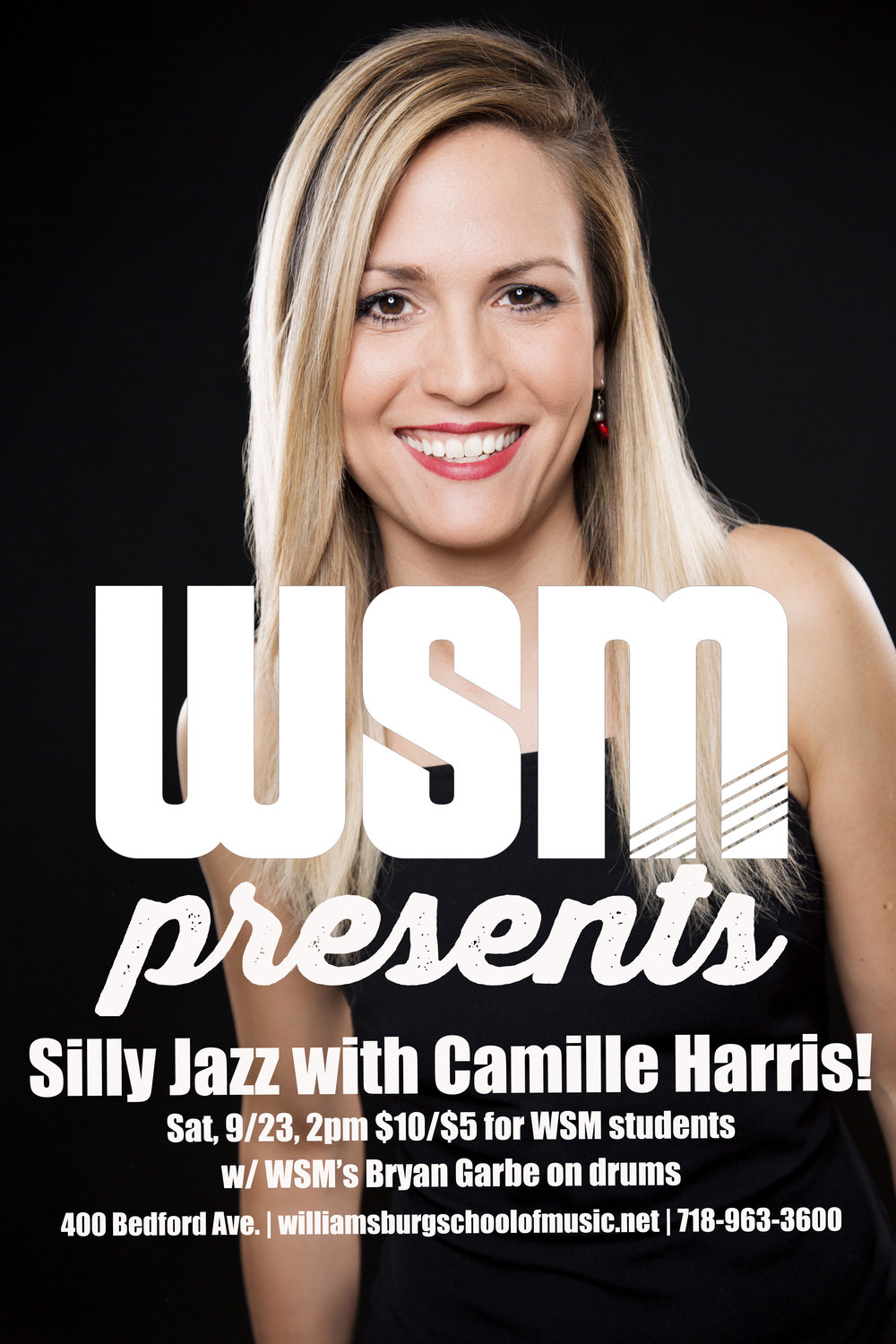 We are kicking off a monthly concert series on September 23rd at 2pm with our own Camille Harris, who will be playing selections from her kid/family-friendly album Silly Jazz.  Get ready to stomp, clap and dance around!  Featuring WSM's Bryan Garbe on drums.  All ages.  Tickets are $5 for students and families of students, $10 for the general public.  See you there!