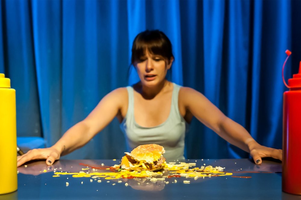 It was the smell of cooking meat, sizzling through the Old Red Lion Theatre, that took the production from intriguing intellectual dilemma to visceral, disgust-provoking theatre.