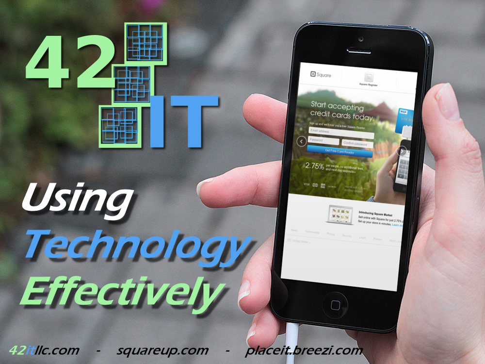 Our Agents employ innovative means like Square Register, allowing us to accept credit card payments with iPhones, Androids or iPads. Click to visit 42IT's Square profile and to learn more about Square.