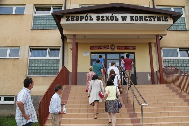 We make our way into Korczyna's main school.