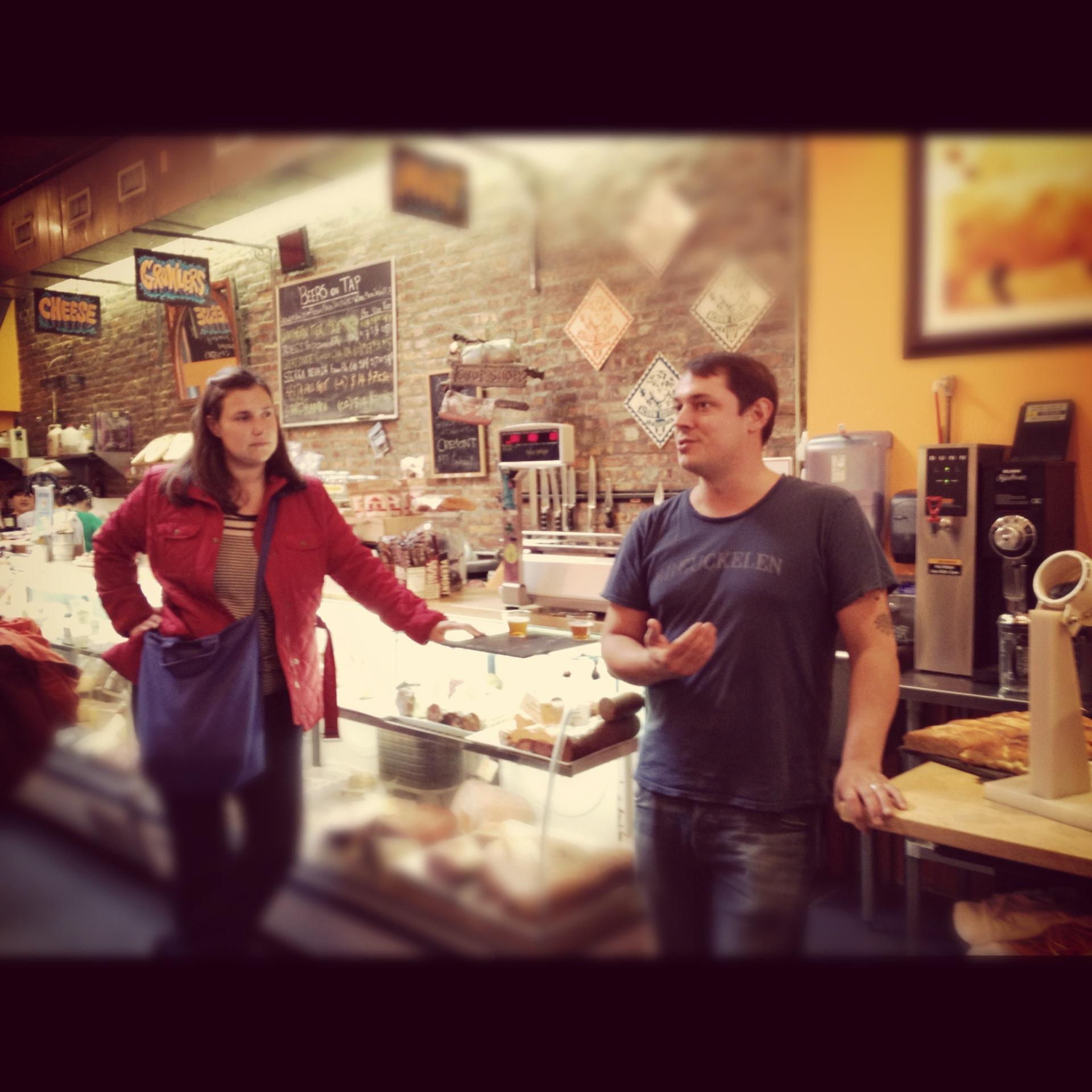 Urban Oyster guide Allison Radecki and one half of Stinky Bklyn's husband/wife team, Patrick Watson.