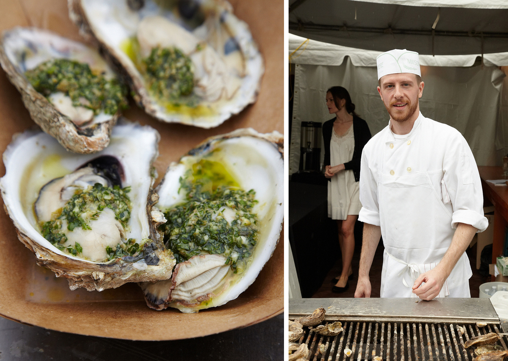 Grilling oysters at Maison Premiere