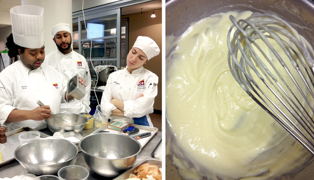 Chef Michael Garrett schools our class in the art of mayonnaise.