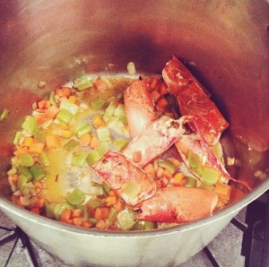Building flavor with a lobster shell-based stock.