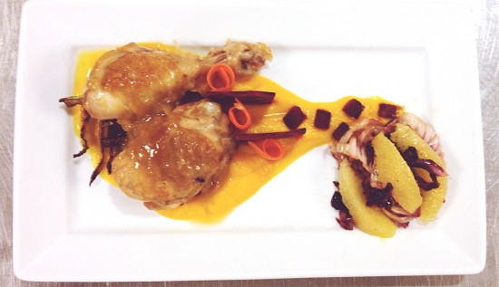 "My ""market basket"" exam: braised chicken with orange/squash puree, roasted and raw beets, carrot ribbons, stewed radicchio, pan sauce."