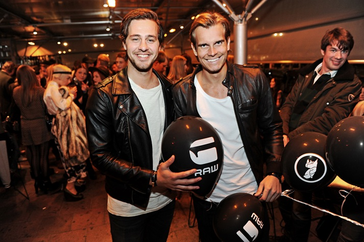"""Mattias Norburg & Timmy Kersmo"" matchy-matchy at a party for G-Star Raw, from nightlife website  stureplan.se ."