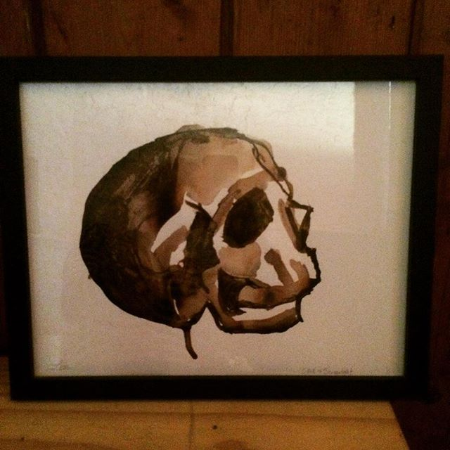 #skull in #screenlight #ink on #paper #lizbarilepage