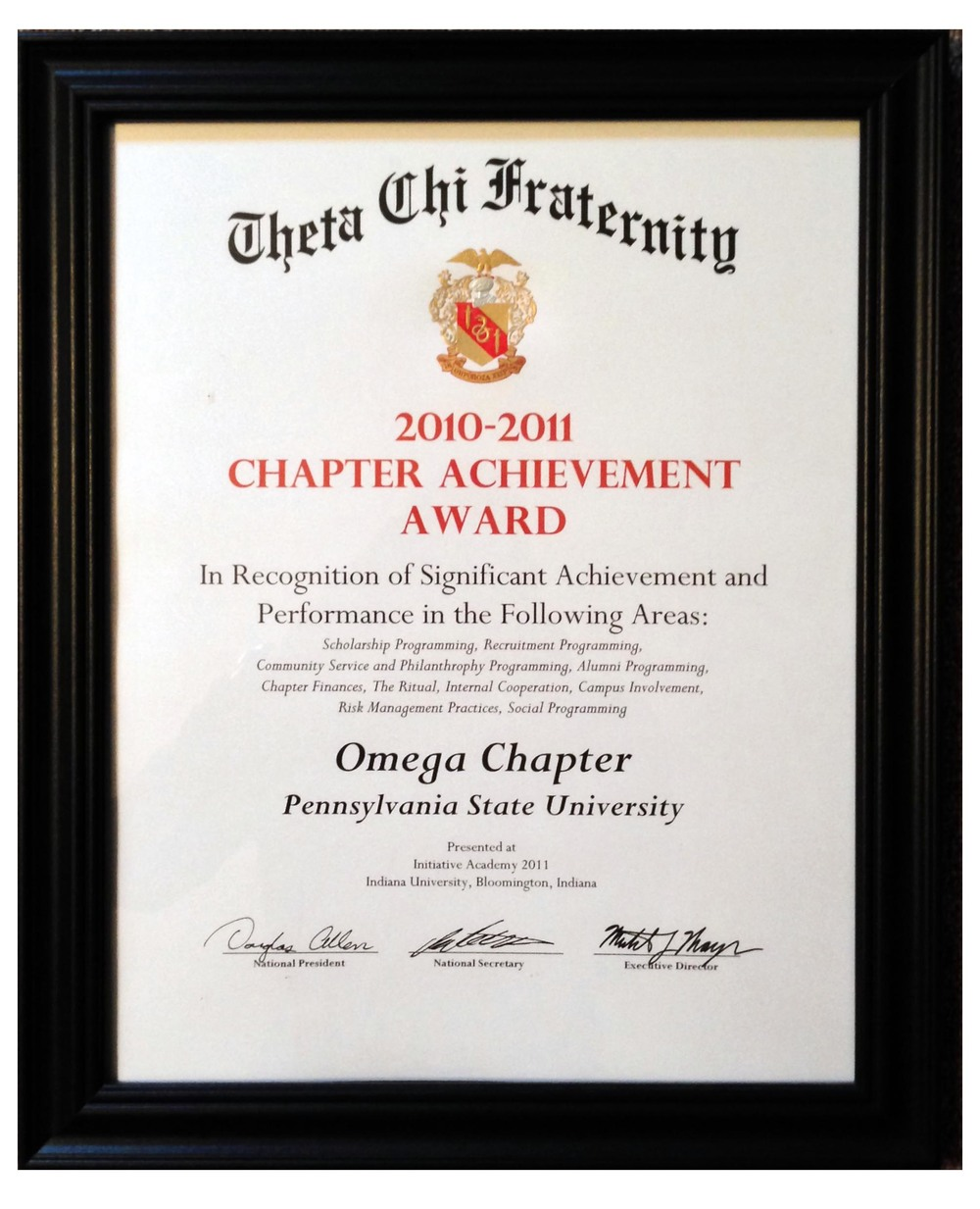 2010-2011 Chapter Achievement Award from National