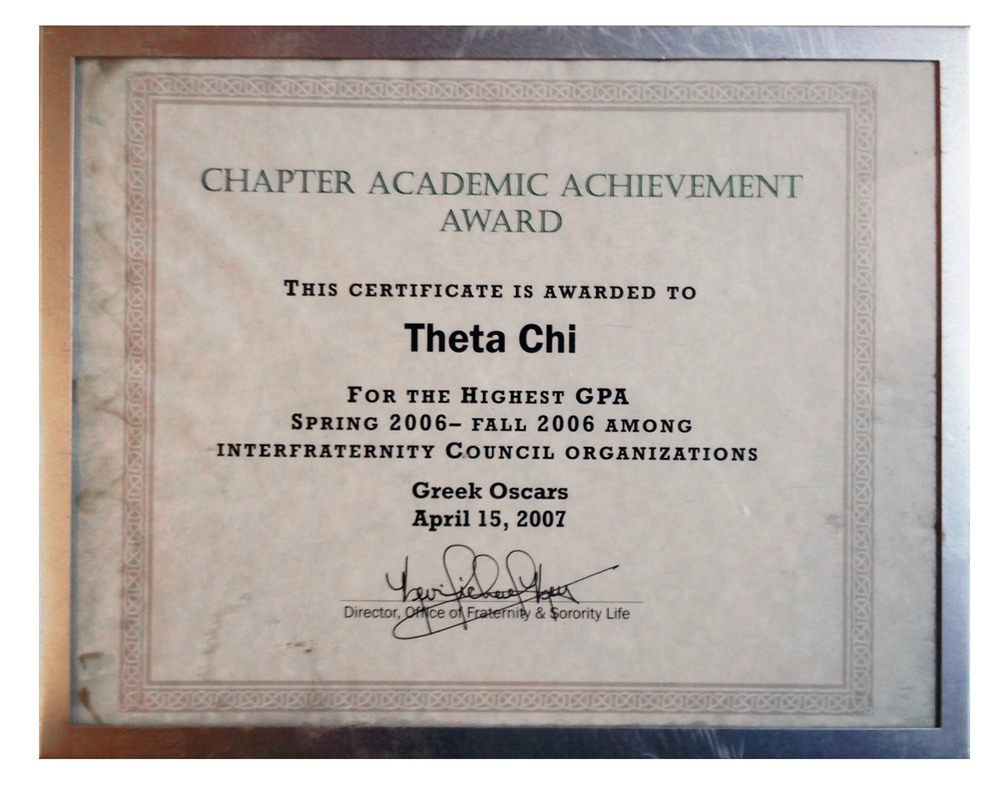2006 Academic Achievement Award for Highest GPA