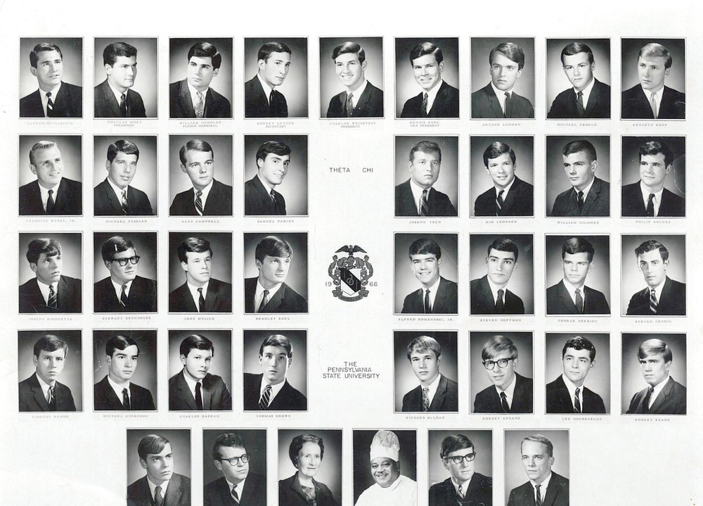 "1966 Composite - top row L to R: Alfred Migliaccio, Douglas Mory, William Huddles, Robert Luther, Charles Weinstein, Dennis Rush, Arthur Luhmann, Michael George, Kenneth Kopf 2nd row from top L to R: Fredrick Wuest Jr., Michel Passaro, Alan Campbell, Samuel Padjen, Joseph Tech, Kim Leonard, William Gilmore, Philip Becker 3rd row from top L to R: Joseph Simonetta, Stewart Brunhouse, John Mulick, Bradley Earl, Richard McLean, Robert Annand, Lee Housenecht, Robert Reade 2nd from bottom L to R: Timothy Ramos, Michael Anderson, Charles Darrah, Thomas Keown, Robert Annand, Lee Housenecht, Robert Reade Bottom Row L to R: TK, TK, Lucille Llyod, Emanuel ""Giffy"" Gifford, TK and TK - Photo courtesy Richard McLean '68"
