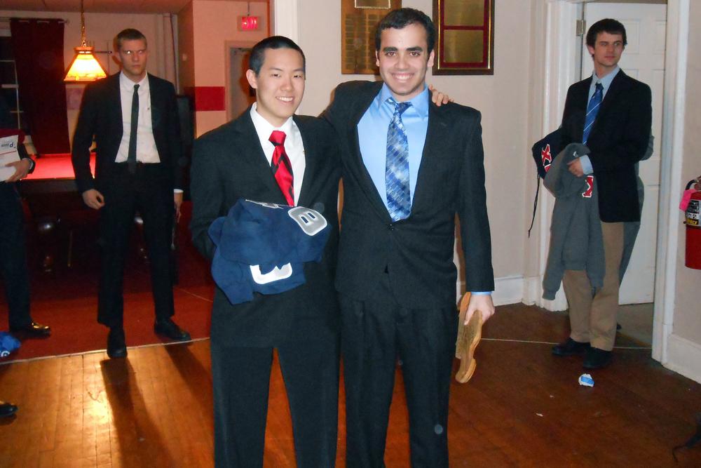 Spring 2013 Initiation Matthew Liu (L) and Shawn Stern