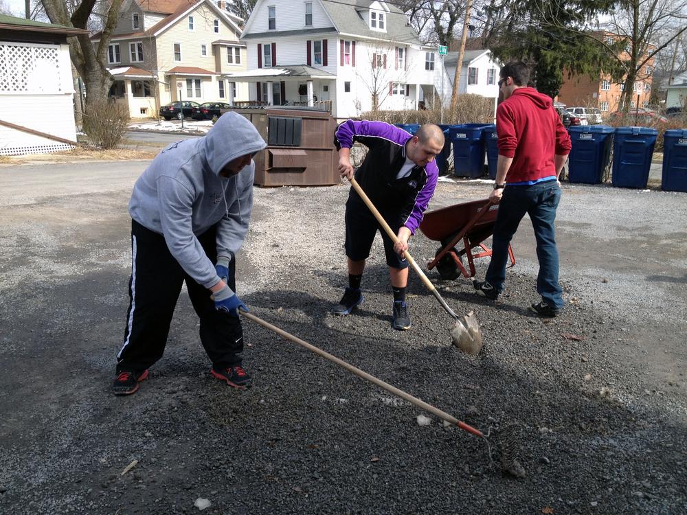 2013 Alumni Work Weekend - Pool Room Project Jason Jonas, Jerry Crompton, Brad Mackey working on the parking lot